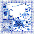 Chinoiserie Blue And White Pagoda With Stylized Flowers And Chinese Chippendale Border by Audrey Jeanne Roberts