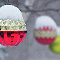 Christmal Balls Outside Covered By Snow - Snowy Winter Scene by Cristina Stefan