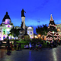Christmas Decorations In Plaza Murillo La Paz Bolivia by James Brunker