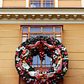 Christmas Wreath On Historic Building by James Brunker