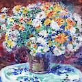 Chrysanthemum Flowers Bouquet Renoir Style Study by Irina Sztukowski