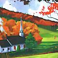 Church In Autumn by D Hackett