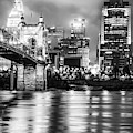 Cincinnati Sepia Skyline Over Ohio River - Black And White Edition by Gregory Ballos