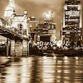 Cincinnati Sepia Skyline Over Ohio River - Sepia Edition by Gregory Ballos