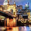 Cincinnati Skyline And John Roebling Bridge - Vertical Colors by Gregory Ballos