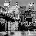 Cincinnati Skyline And John Roebling Bridge - Vertical Monochrome by Gregory Ballos