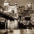 Cincinnati Skyline And John Roebling Bridge - Vertical Sepia I by Gregory Ballos