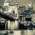 Cincinnati Skyline And John Roebling Bridge - Vertical Sepia II by Gregory Ballos
