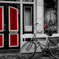 City Bike Downtown Black And White Color Selected Red by Debra and Dave Vanderlaan