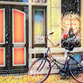 City Bike Downtown Oil Painting by Debra and Dave Vanderlaan