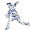 Clayton Kershaw Los Angeles Dodgers Pixel Art 30 by Joe Hamilton