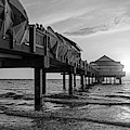 Clearwater Florida Sunset At The Pier Fl Black And White by Toby McGuire
