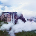 Clouds Cover Angel Falls In Canaima Np Venezuela by Dave Welling