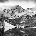 Cloudy Maroon Bells Panoramic Landscape In Black And White by Gregory Ballos