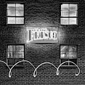 Club Frisco Neon And Four Windows - Rogers Arkansas Monochrome 1x1 by Gregory Ballos