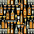Cocktails And Liquor Bottle Pattern by Csa Images