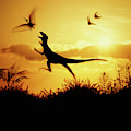 Coelurus Leaping At Pterosaur by Warren Photographic