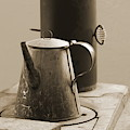 Coffee Pot On Cast Iron Stove In Sepia - Fort Stanton New Mexico by Colleen Cornelius
