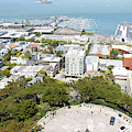 Coit Tower Parking Circle On Telegraph Hill Overlooking Pier 39 And Alcatraz San Francisco R603 by Wingsdomain Art and Photography