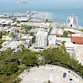 Coit Tower Parking Circle Overlooking The Embarcadero Pier 39 And Alcatraz San Francisco R603 Sq by Wingsdomain Art and Photography