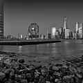 Colgate Clock And Nyc Skyline Bw by Susan Candelario