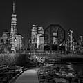 Colgate Clock And Nyc Skyline Twilight Bw by Susan Candelario