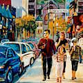 Colorful Downtown City Scene Painting Family Stroll Summer Streets C Spandau Urban Canadian Artist by Carole Spandau