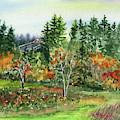 Colorful Fall Watercolor Landscape by Irina Sztukowski