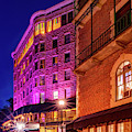 Colorful Night At Basin Park Hotel In Downtown Eureka Springs Arkansas by Gregory Ballos