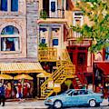 Colorful Paris Style Outdoor Cafes Rue St Denis Canadian Art Montreal Eats C Spandau Quebec Artist by Carole Spandau