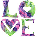 Colors Of Love Sign Watercolor Silhouette Letters Hearts  by Irina Sztukowski