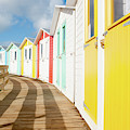 Colourful Bude Beach Huts by Helen Northcott