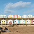 Colourful Bude Beach Huts IIi by Helen Northcott