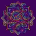 Colourful Rainbow Mandala Lavender by Georgeta Blanaru