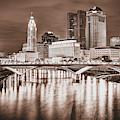 Columbus Ohio Skyline Over The Scioto River - Sepia Edition by Gregory Ballos