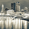 Columbus Skyline Ohio Sepia - Square Format  by Gregory Ballos