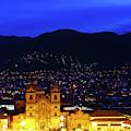 Compania De Jesus Church And Plaza De Armas At Blue Hour Cuzco Peru by James Brunker