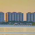 Condominium Buildings In Southwest Florida At Sunset by Edward Fielding