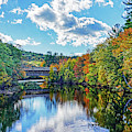 Contoocook River In Henniker Nh Covered Bridge In The Fall by Toby McGuire