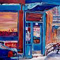 Corner Cafe Clark And Fairmount Wilensky's Winter Scene Habs Hockey Art C Spandau Quebec Artist by Carole Spandau
