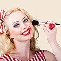 Cosmetics Pin-up Model Applying Blusher Makeup by Jorgo Photography - Wall Art Gallery