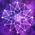 Cosmic Purple Geometric Seed Of Life Crystal Lotus Star Mandala by Laura Ostrowski