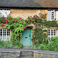 Cotswold Cottage With Red Roses by Tim Gainey