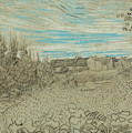 Cottages With A Woman Working In The Middle Ground by Vincent van Gogh
