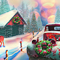 Country Mountain Christmas Painting by Debra and Dave Vanderlaan