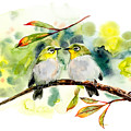 Couple Of Little Green Birdies by Marya Kutuzova