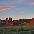 Courthouse Towers Arches National Park, Southwest Art Sunset by TL Mair