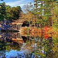 Covered Bridge In Autumn - Dummerston Covered Bridge by Joann Vitali