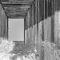Crashing Waves At Scripps Pier - Bw 1 by Jonathan Hansen