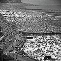 Crowds Thronging The Beach At Coney by Andreas Feininger